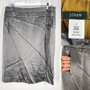 J. Crew Charmeuse Pencil Skirt Pewter 100% Silk 4